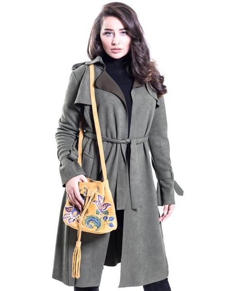 Bestickte Tasche aus Leder ,,Senfgelb,,