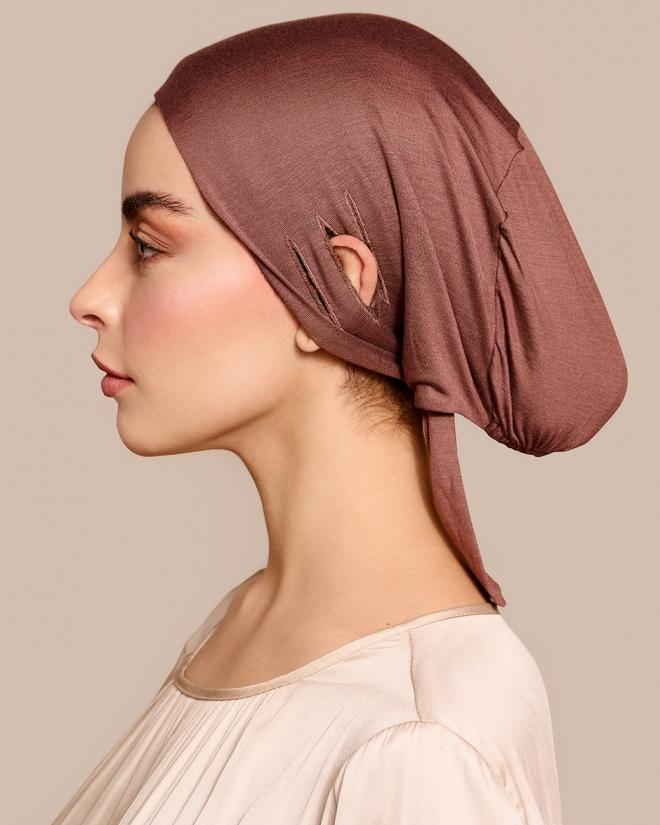 Under head scarf free bone moccha brown