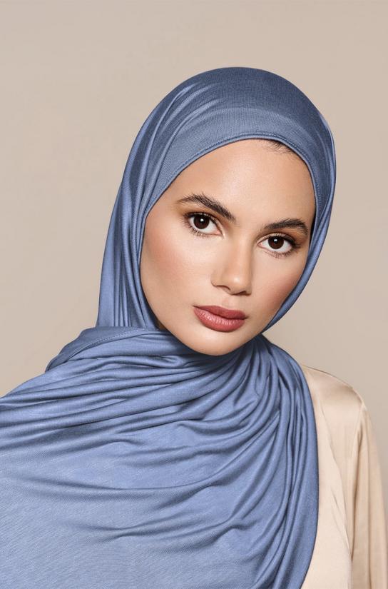 Instant Premium Jersey Hijab Denim - Left