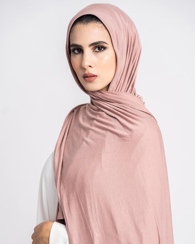 Instant Premium Jersey Hijab Dusty Rose - Left