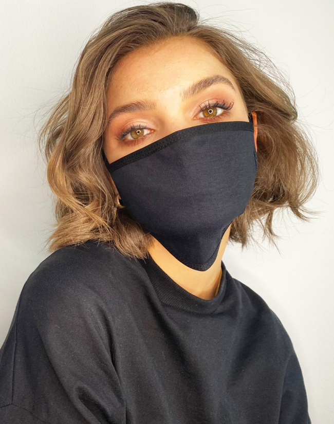 mouth and nose cover black logo 2 er Pack