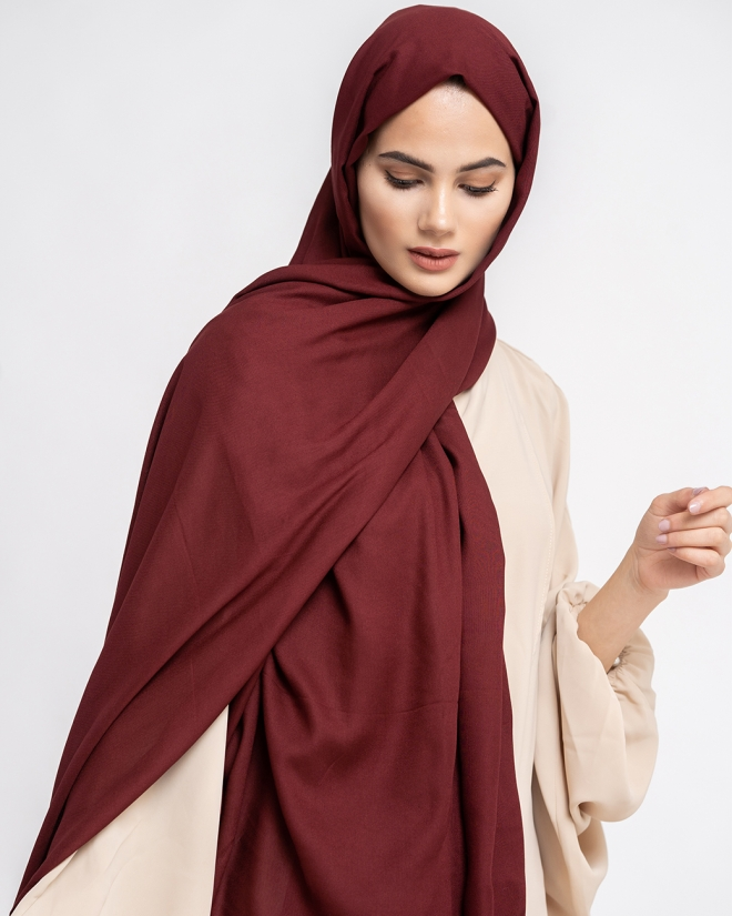 COTTON MODAL HIJAB - WINE RED