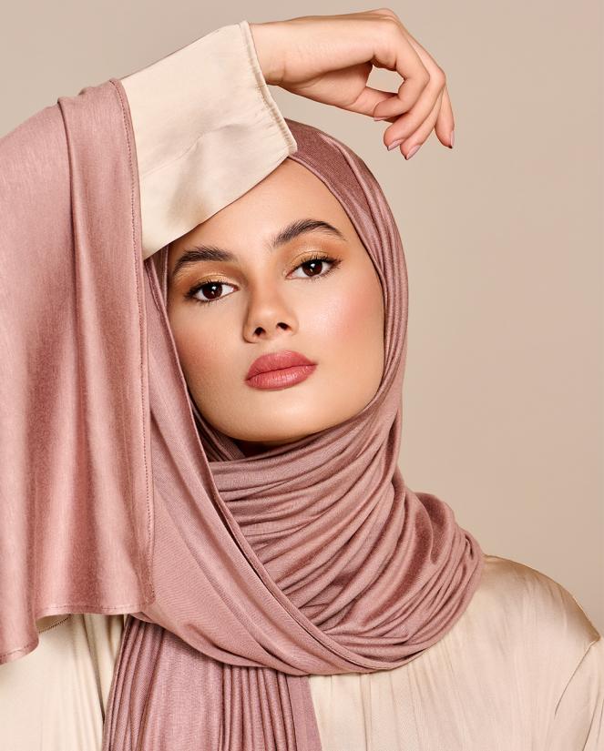 Instant Premium Jersey Hijab Dark Powder - Right